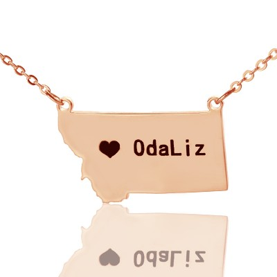 Custom Montana State Shaped Necklaces With Heart  Name Rose Gold - Crafted By Birthstone Design™