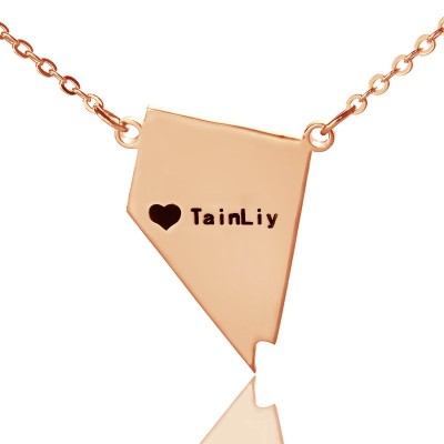 Custom Nevada State Shaped Necklaces With Heart  Name Rose Gold - Crafted By Birthstone Design™