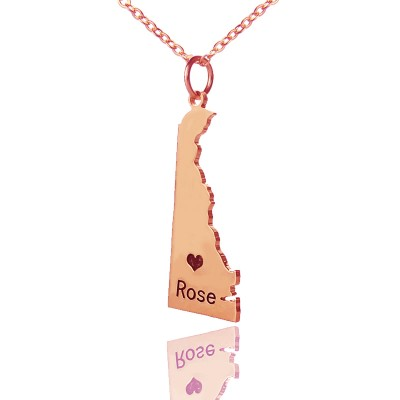 Custom Delaware State Shaped Necklaces With Heart  Name Rose Gold - Crafted By Birthstone Design™