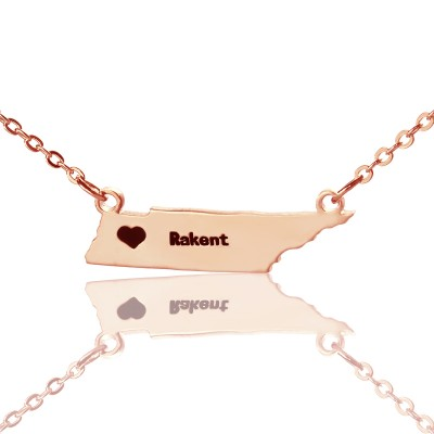 Custom Tennessee State Shaped Necklaces With Heart  Name Rose Gold - Crafted By Birthstone Design™