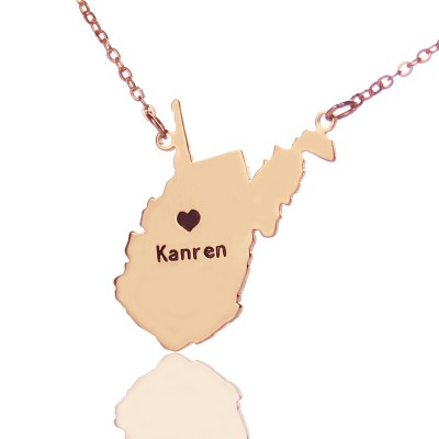 West Virginia State Shaped Necklaces With Heart  Name Rose Gold - Crafted By Birthstone Design™