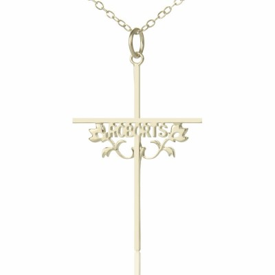 Silver Cross Name Necklaces with Rose - Crafted By Birthstone Design™