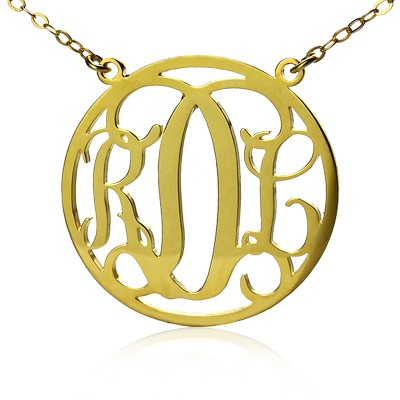 Circle 18ct Solid Gold Initial Monogram Name Necklace - Crafted By Birthstone Design™
