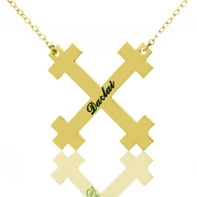 Gold Plated Silver Julian Cross Name Necklaces Troubadour Cross - Crafted By Birthstone Design™