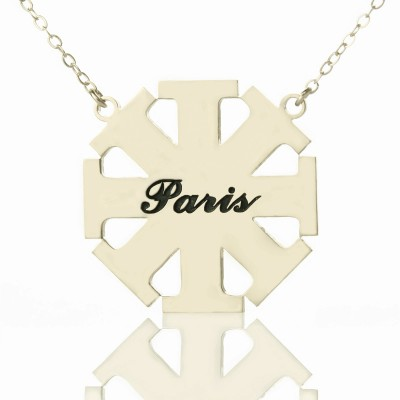 Customised Cross Necklace with Name Silver - Crafted By Birthstone Design™