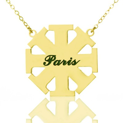 Customised Cross Necklace with Name 18ct Gold Plated 925 Silver - Crafted By Birthstone Design™