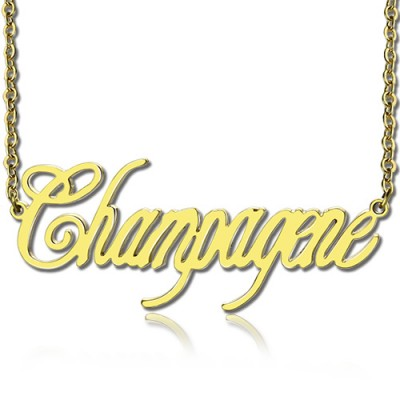 Solid Gold Personalised Champagne Font Name Necklace - Crafted By Birthstone Design™