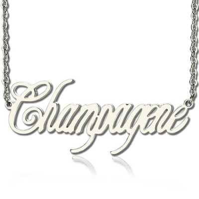 Solid White Gold Personalised Champagne Font Name Necklace - Crafted By Birthstone Design™