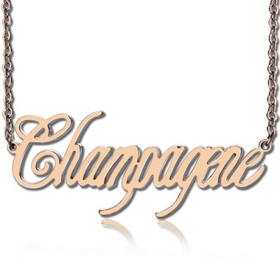 Solid Rose Gold Personalised Champagne Font Name Necklace - Crafted By Birthstone Design™