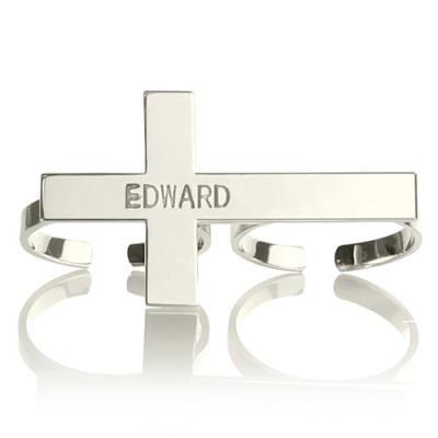 Custom Two finger Cross Ring Engraved Name Sterling Silver - Crafted By Birthstone Design™