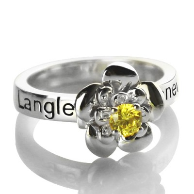 Promise Rose Ring Engraved Name  Birthstone Sterling Silver  - Crafted By Birthstone Design™