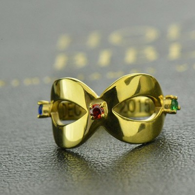18ct Gold Plated Engraved Infinity Birthstone Ring  - Crafted By Birthstone Design™