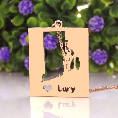 Personalised Rhode State Dog Tag With Heart  Name Rose Gold Plate - Crafted By Birthstone Design™