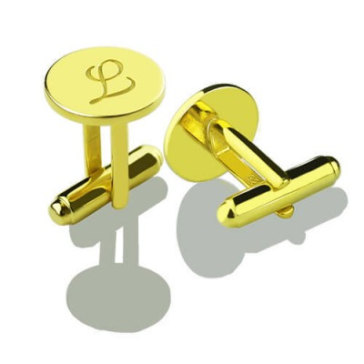 Custom Script Initial Cufflinks for Men 18ct Gold Plated - Crafted By Birthstone Design™