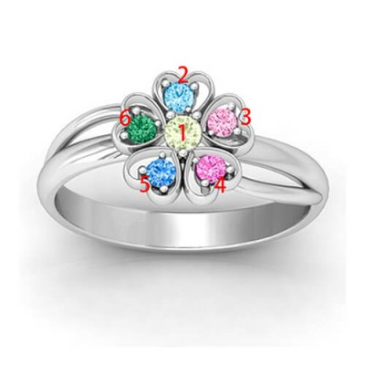 Promise Flower Ring Engraved Name  Birthstone Sterling Silver  - Crafted By Birthstone Design™