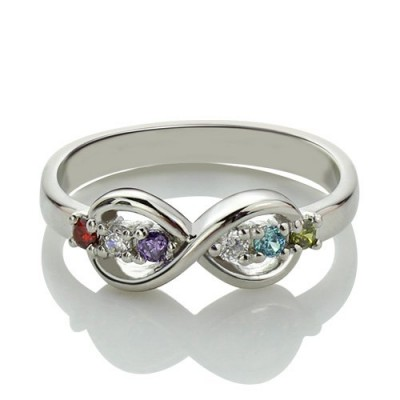 Sterling Silver or Rose Gold Personalised Infinity Name plate Rings for Her - Crafted By Birthstone Design™
