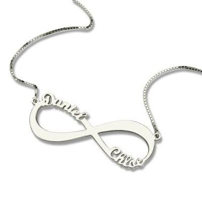 Personalised Infinity Symbol Necklace Double Name - Crafted By Birthstone Design™
