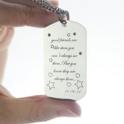 Best Friends Gift Dog Tag Name Necklace - Crafted By Birthstone Design™