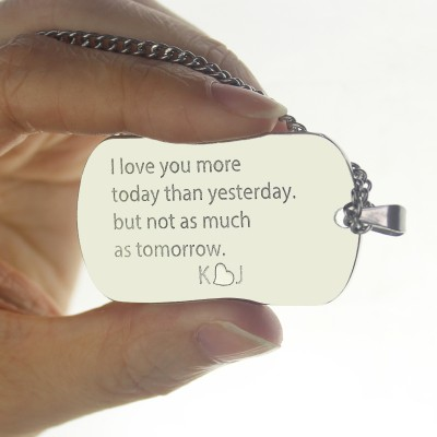 Love Song Dog Tag Name Necklace - Crafted By Birthstone Design™