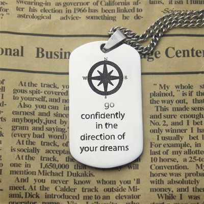 Compass Man's Dog Tag Name Necklace - Crafted By Birthstone Design™