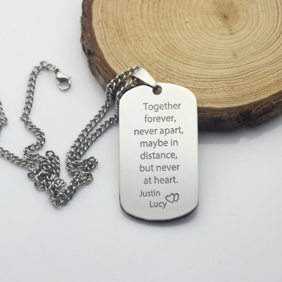 Man's Dog Tag Love Theme Name Necklace - Crafted By Birthstone Design™