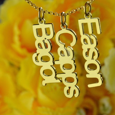 Customised Vertical Multiable Names Necklace 18ct Gold Plated - Crafted By Birthstone Design™