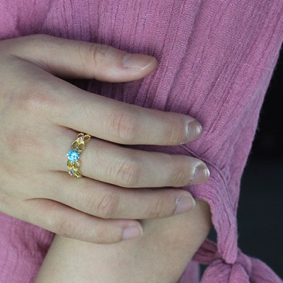 Birthstone Infinity Promise Ring With Name 18ct Gold Plated  - Crafted By Birthstone Design™