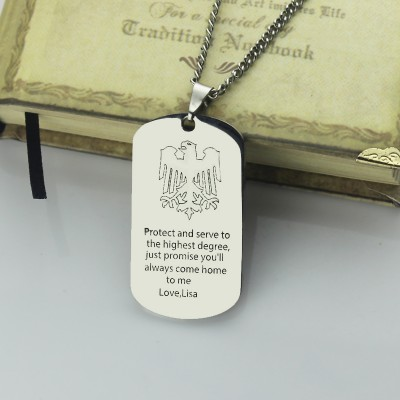 Man's Dog Tag Eagle Name Necklace - Crafted By Birthstone Design™