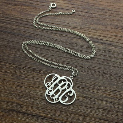 Personalised Cut Out Clover Monogram Necklace Sterling Silver - Crafted By Birthstone Design™