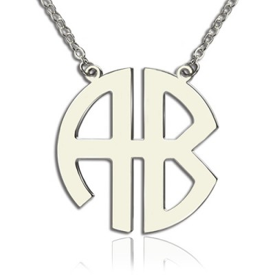 Personailzed Silver Two Initial Block Monogram Pendant - Crafted By Birthstone Design™