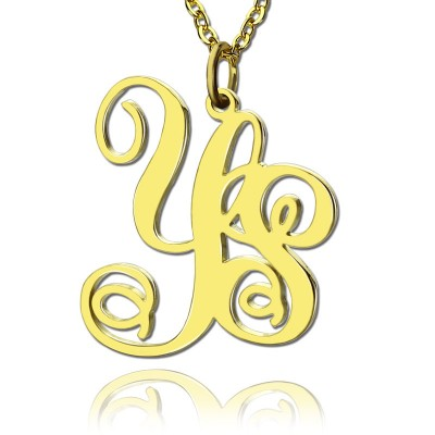 Personalised 18ct Gold Plated Vine Font 2 Initial Monogram Necklace - Crafted By Birthstone Design™