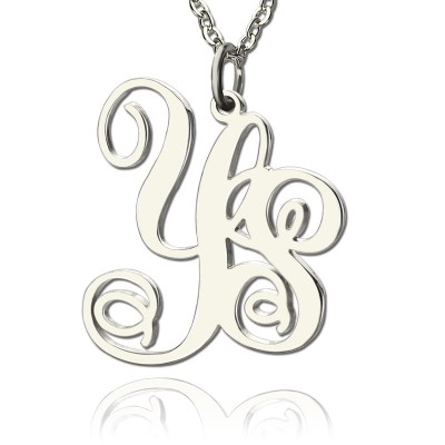 Personalised Solid White Gold Vine Font 2 Initial Monogram Necklace - Crafted By Birthstone Design™