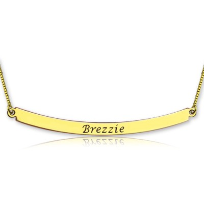 Personalised 18ct Gold Plated Curved Bar Necklace - Crafted By Birthstone Design™