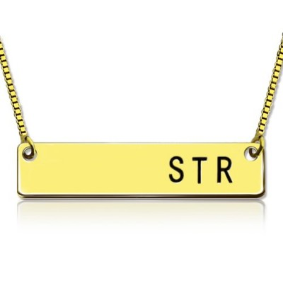 Personalised Initial Bar Necklace 18ct Gold Plated - Crafted By Birthstone Design™