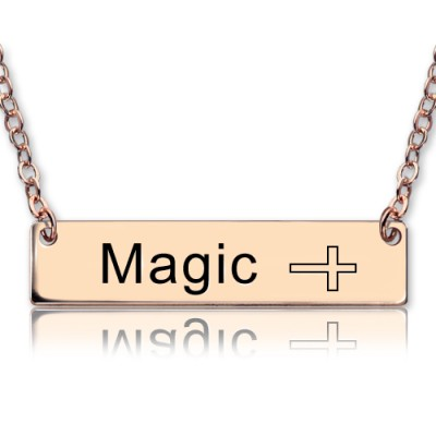 Engraved Name Bar Necklace with Icons 18ct Rose Gold Plated - Crafted By Birthstone Design™