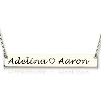 Couple Bar Necklace Engraved Name Sterling Silver - Crafted By Birthstone Design™
