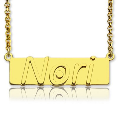Custom Nameplate Bar Necklace 18ct Gold Plated - Crafted By Birthstone Design™