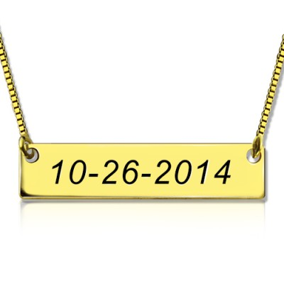 Engraved Date Bar Necklace 18ct Gold Plated - Crafted By Birthstone Design™