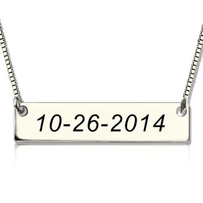 Personalised Sterling Silver Date Bar Necklace - Crafted By Birthstone Design™