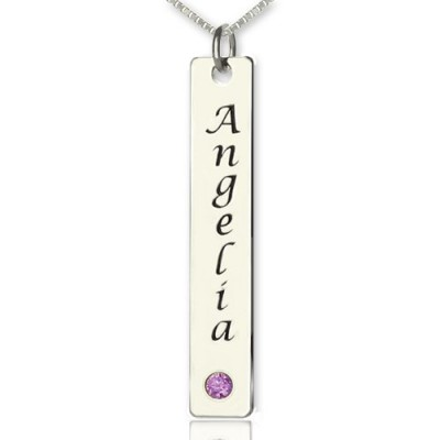 Vertical Bar Necklace Name Tag Silver - Crafted By Birthstone Design™