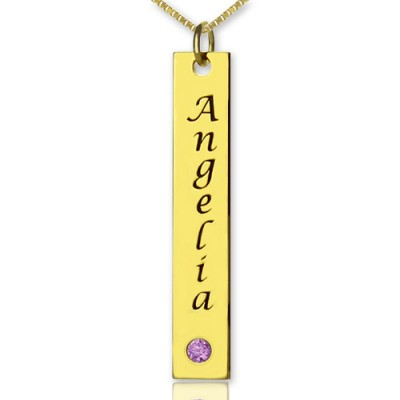 Personalised Name Tag Bar Necklace in 18ct Gold Plated - Crafted By Birthstone Design™
