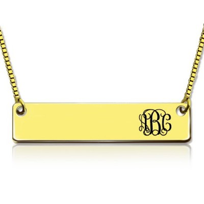 Personalised 18ct Gold Plated Initial Bar Necklace Monogram - Crafted By Birthstone Design™