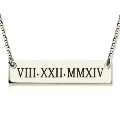 Custom Roman Numeral Bar Necklace Sterling Silver - Crafted By Birthstone Design™