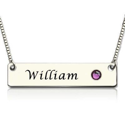 Nameplate Bar Necklace with Birthstone Silver  - Crafted By Birthstone Design™