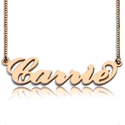 Carrie Name Necklace  Box Chain In 18ct Rose Gold Plated - Crafted By Birthstone Design™