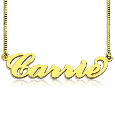 Gold Plated Sex and The City Carrie Name Necklace Box Chain - Crafted By Birthstone Design™
