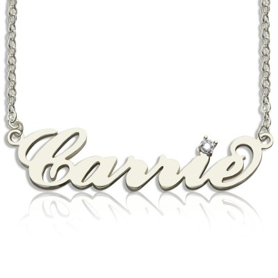 Sterling Silver Carrie Name Necklace With Birthstone  - Crafted By Birthstone Design™