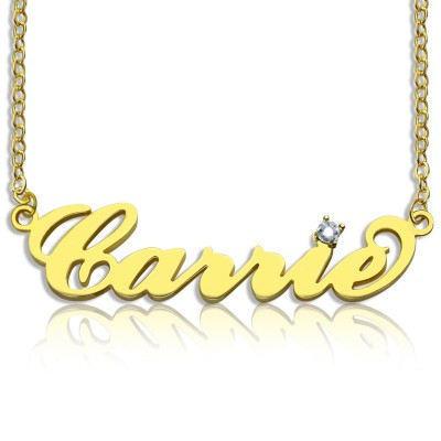 Carrie Nameplate Necklace with Birthstone 18ct Gold Plated  - Crafted By Birthstone Design™