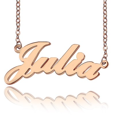 Solid Rose Gold Plated Julia Style Name Necklace - Crafted By Birthstone Design™