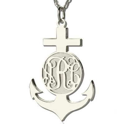 Sterling Silver Anchor Monogram Initial Necklace - Crafted By Birthstone Design™